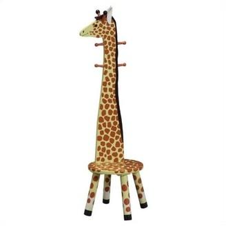 Teamson Design Giraffe Wooden Standing Coat Rack and Stool