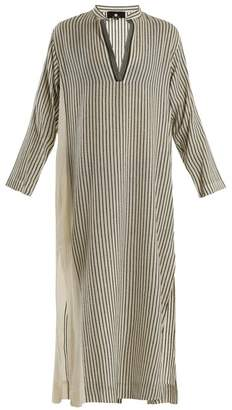 Su - Kika Mandarin Collar Striped Kaftan - Womens - Cream Multi