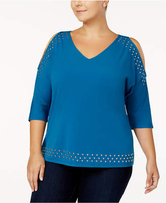 INC International Concepts I.N.C. Plus Size Studded Cold-Shoulder Top, Created for Macy's