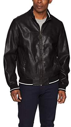 Tommy Hilfiger Men's Lamb Touch Faux Leather Bomber Jacket with Contrast Rib Knit