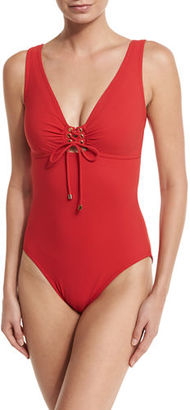 Karla Colletto Lace-Up Front Underwire One-Piece Swimsuit $285 thestylecure.com