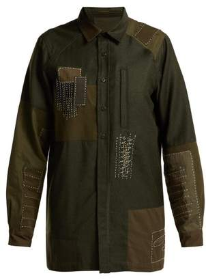 MHI Boro Stitched Wool Shirt - Womens - Dark Green