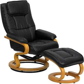 Flash Furniture Contemporary Leather Recliner and Ottoman with Swiveling Maple Wood Base, Multiple Colors