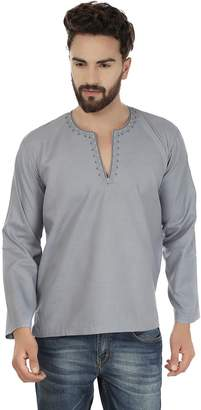 Off-White Maple Clothing Embroidered Cotton Dress Mens Short Kurta Shirt India Fashion Clothes (, M)