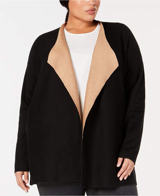Eileen Fisher Plus Size Open-Front Silk Cardigan