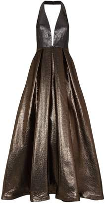 Jovani Two-Tone Metallic Halterneck Gown