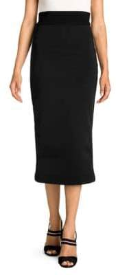 Fendi Women's Knit Logo Stripe Pique Jersey Pencil Skirt - Black - Size 40 (6)