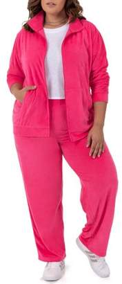 Athletic Works Women's Plus Size Velour Jacket and Pant Set