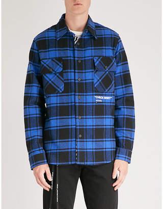 Off-White Check Shirt-print brushed cotton-blend shirt