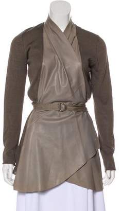 Brunello Cucinelli Leather-Trimmed Knit Cardigan