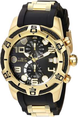 Invicta Men's 'Bolt' Quartz Gold and Silicone Casual Watch, Color:Two Tone (Model: 24218)
