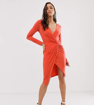 0e459bbfc2 Flounce London Tall wrap front mini dress in rust