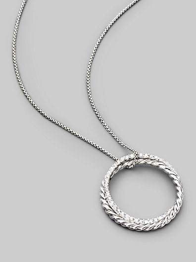 David Yurman Diamond, Sterling Silver & 14K White Gold Circle Necklace