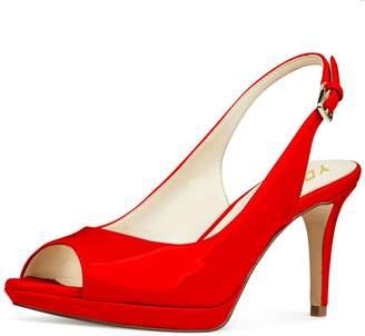 ea3924d2927 YDN Women Formal Peep Toe Platform Pumps Mid Heels Slingback Office Shoes  with Buckle 9.5