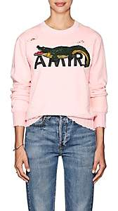 Amiri Women's Gator-Logo Cotton Terry Sweatshirt - Pink