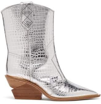 Fendi Cutwalk Crocodile Effect Leather Cowboy Boots - Womens - Silver