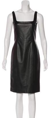 Ralph Lauren Black Label Leather Knee-Length Dress