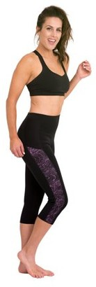 Delfin Spa Women's Heat Maximizing Neoprene Exercise & Anti-Cellulite Capris, MYSTIC PURPLE/BLACK, Medium
