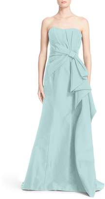 Carolina Herrera Bow Detail Strapless Silk Faille Gown