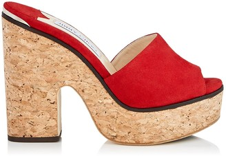 Jimmy Choo DEEDEE 125 Red Suede Sandal Wedges