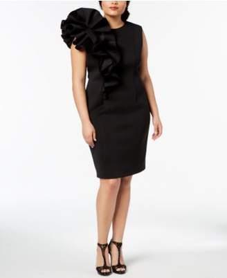 Betsy & Adam Plus Size Ruffled Scuba Dress