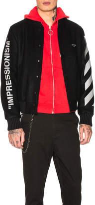 Off-White Off White Diagonal Green Man Varsity Jacket in Black & Green | FWRD