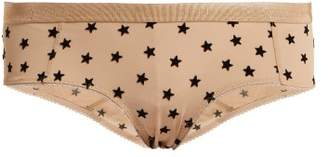 Stella McCartney Betty Twinkling Flocked Stars Briefs - Womens - Nude Print