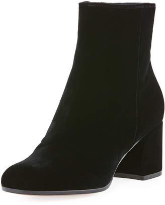 Gianvito Rossi Margaux Mid Bootie Velvet 60mm Block-Heel Ankle Boot