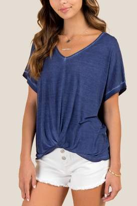 francesca's Kendall Knot Front Oil Wash Top - Navy