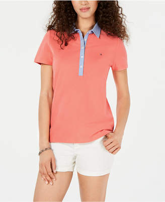Tommy Hilfiger Plus Size Chambray Collar Polo Shirt