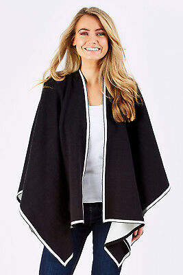 NEW bird keepers Womens Ponchos The Contrast Knit Cape BlackWhite - Coats