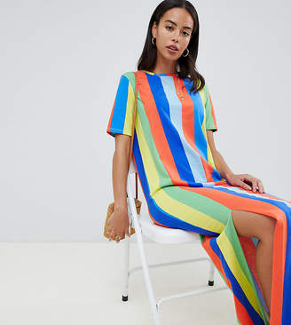Asos Tall DESIGN Tall ultimate t-shirt maxi dress in rainbow stripe
