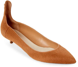 e0cd2fe431e ... Francesco Russo Calf Hair Pointed Toe Kitten Heel Pumps