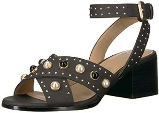 The Fix Women's Makayla Block Heel Pearl Studded Chunky Heeled Sandal