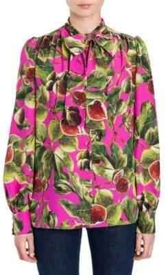 Dolce & Gabbana Fig Print Tie Neck Blouse