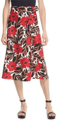 Kate Spade Poppy Field Midi Wrap Skirt