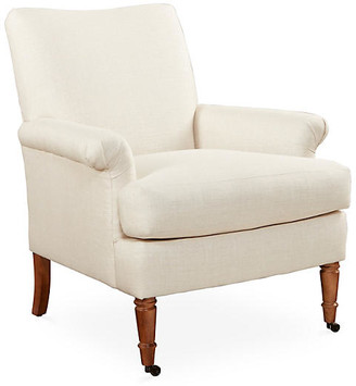One Kings Lane Avery Roll-Arm Chair - Natural Linen