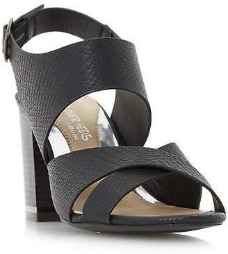 Head Over Heels by Dune Ladies JAYA Stack Heel Cross Strap Sandal in Black