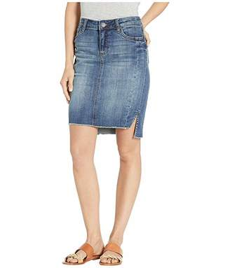 KUT from the Kloth Connie Step Hem Skirt with Front Seam in Entice/Dark Stone Base Wash