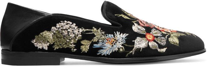 Alexander McQueenAlexander McQueen Leather-trimmed embroidered velvet loafers