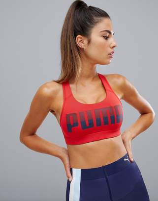 Puma Logo Racerback Bra In Red