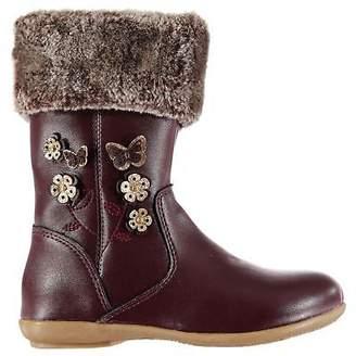 Miso Kids Girls Demi Boots Child Riding Zip Faux Fur Trim Glitter Knee Length