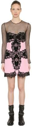 Fausto Puglisi Wool Crepe & Lace Sheer Mini Dress