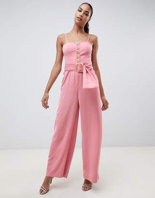 Finders Keepers Finders Westway wide leg jumpsuit with statement belt