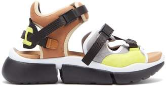 Chloé Sonnie Raised Sole Mesh And Suede Trainer Sandals - Womens - Beige Multi