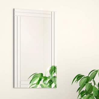 Gallery Solutions 24x36 Frameless Stepped Beveled Edge Wall Mirror