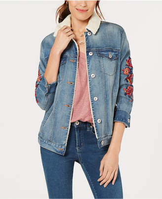 Style&Co. Style & Co Flower-Embroideted Trucker Jacket, Created for Macy's