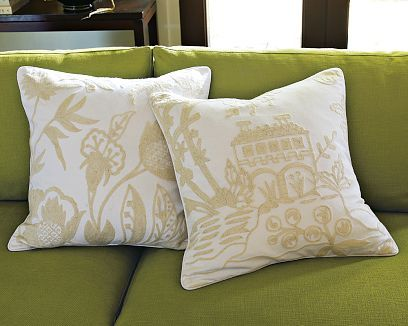Pagoda Crewel Pillows