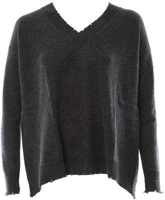 Minnie Rose Pleat Back V Neck Sweater