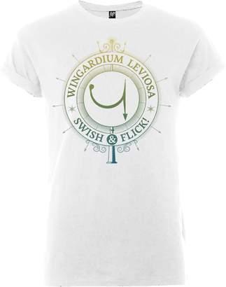 Harry Potter Wingardium Leviosa Swish And Flick Men's White T-Shirt